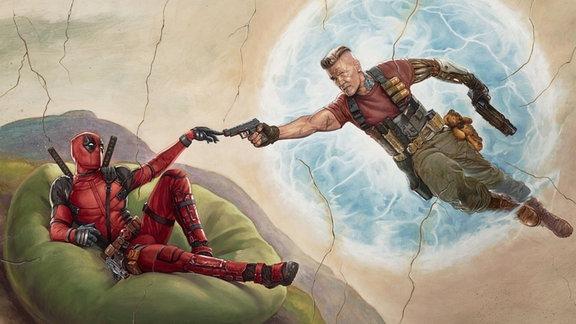 """Nachstellung von Michelangelos berühmten Gemäldes """"Die Erschaffung Adams"""" mit Deadpool als Adam und Oberschurke Cable als Gottvater."""