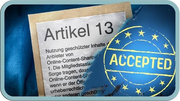 """Dickes Bild von Artikel 13, daneben ein """"Accepted"""" mit Sternchen verziert."""