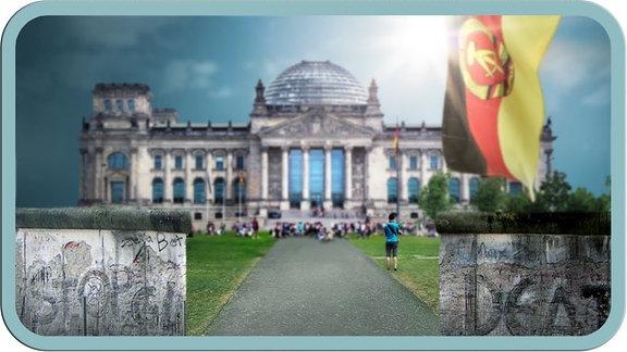 Mauer im Vordergrund, rechts die DDR-Flagge, im Hintergrund der Bundestag.