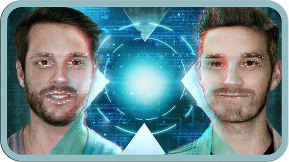 MrWissen2Go einmal in echt und einmal als Deepfake mit spacy Leuchtpunkten auf den Faces.