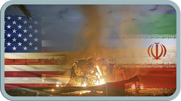 Rechts die US-Flagge, links die iranische. Dazwischen ein Scheiterhaufen.
