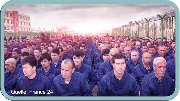Uiguren in einem Lager.