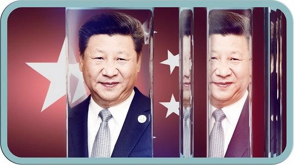 Xi Jinping im Glasscheibenmuster.