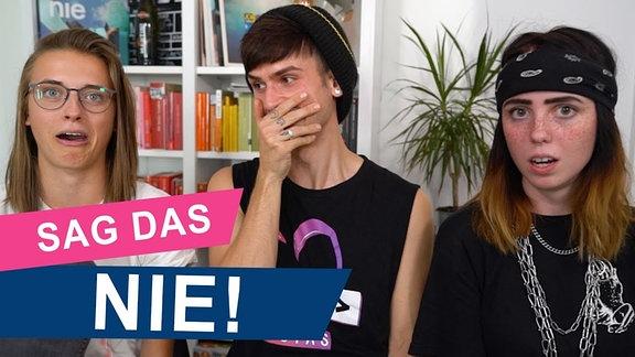 Annika, Kostas und Becci amüsieren sich über dumme Sprüche, die Schwule und Lesben nicht hören wollen.