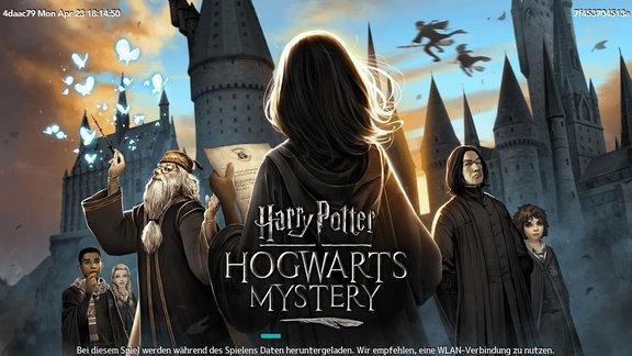 Ein Mädchen mit Brief in der Hand vor der Hogwarts-Schule für Hexerei und Zauberei.