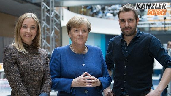 Angela Merkel zusammen mit Sissy Metzschke und Tobi Schäfer