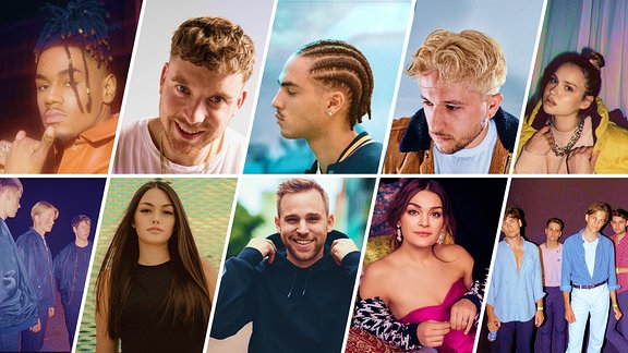 Alle Finalist*innen des New Music Award 2020 in einer Collage (v.l.n.r.): Willy Will, Dissy, Badchieff, BLVTH, Céline, Schatzi, Renee, Dissy, Emily Roberts, JEREMIAS.   JEREMIAS, Dissy, Badchieff, BLVTH, Céline, Schatzi, Renee, EstA, Badmómzjay und Willy Will.