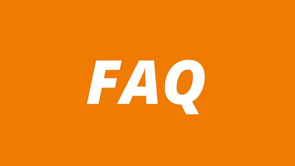 """Orange Schrifttafel mit weißer Schrift """"FAQ"""""""