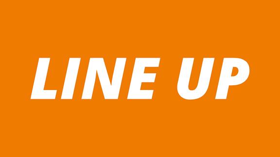 """Orange Schrifttafel mit weißer Schrift """"Line Up"""""""