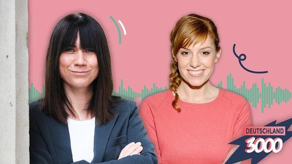 Deutschland3000 Folgenbild mit Influencerin Louisa Dellert und der Moderatorin Eva Schulz