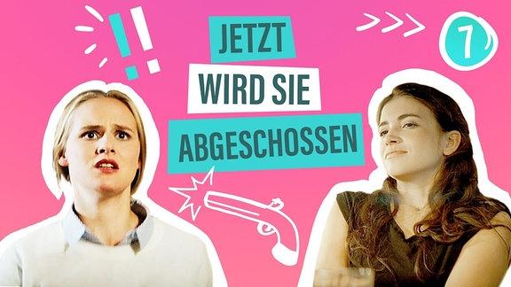 """Zwei Frauen vor pinkem Hintergrund, dazwischen der Schriftzug """"Jetz wird sie abgeschossen""""."""