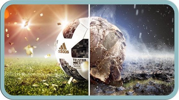 Ein Fußball, der zur Hälfte kaputt ist.