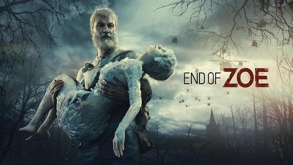 """Ein Mann trägt einen leblosen Frauenkörper, daneben der Schriftzug """"End of Zoe"""""""
