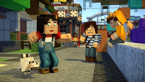 Minecraft-Figuren auf einer Straße, auf einen Hund blickend