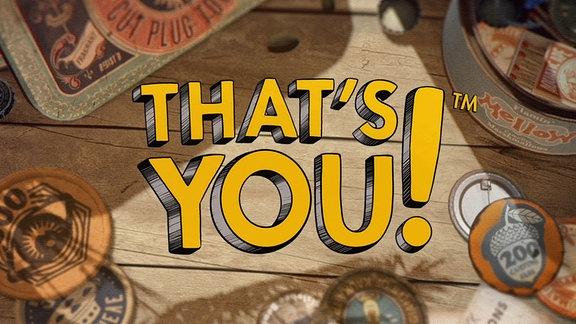 """Das Bild zeigt den Schriftzug """"That's You"""" vor Holzbrettern in einer Comicgrafik"""