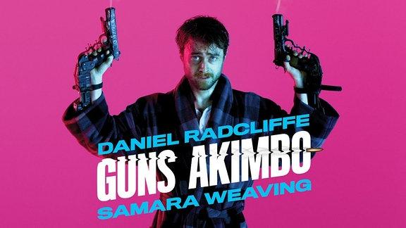 "Filmplakat zum Film ""Guns Akimbo"" mit Daniel Radcliff."