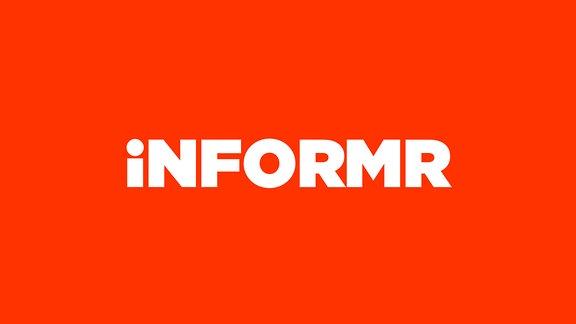 """Der Schriftzug """"Informr"""". Weiß auf rotem Untergrund."""