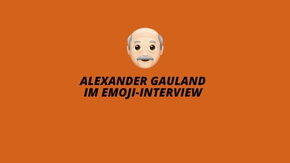 Ein Emoji eines alten Mannes und die Überschrift in Weiß auf orangefarbenen Grund