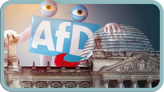 Der Bundestag und dahinter ein überdimensionales AfD Logo.