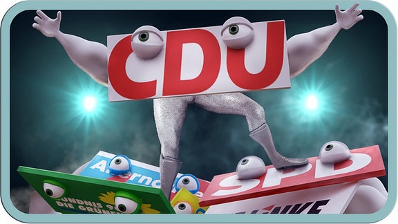 Eine animierte Grafik zeigt am Boden liegende Parteien, die CDU thront über ihnen.