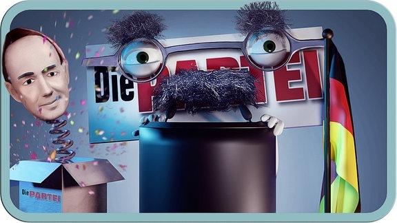 """Eine animierte Grafik zeigt das Logo der """"Partei""""."""