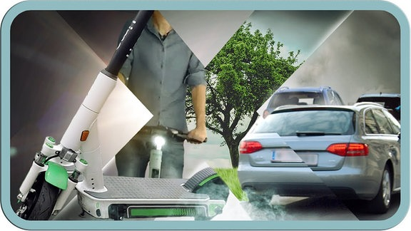 Bildcollage mit Auto und E-Scooter