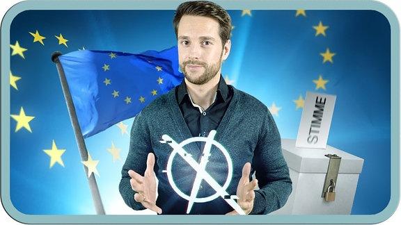 Mirko vor der Europafahne
