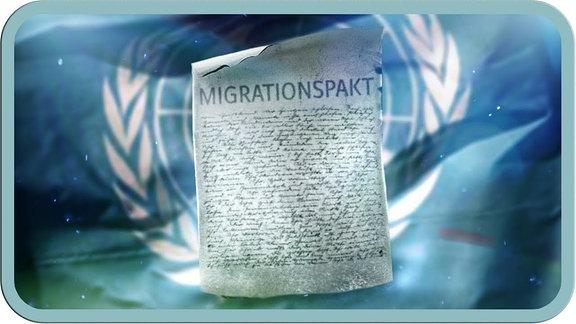 """Grafik mit einer Seite aus dem Gesetzbuch mit dem Titel """"Migrationspakt"""""""