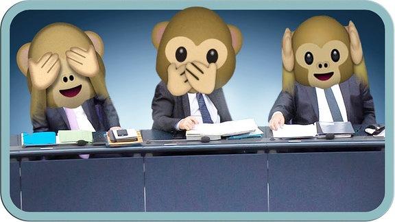 Drei Affen: nichts hören, nichts sehen, nichts sagen.