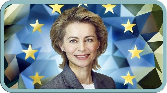 Von der Leyen lächelt in die Kamera, umringt von den EU Sternen.