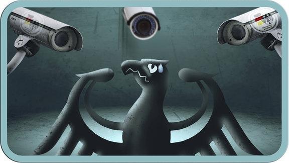 Der Bundesadler zwischen Überwachungskameras