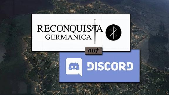 Das Logo der Gruppe Reconquista Germanica und das Logo von Discord vor einer Karte