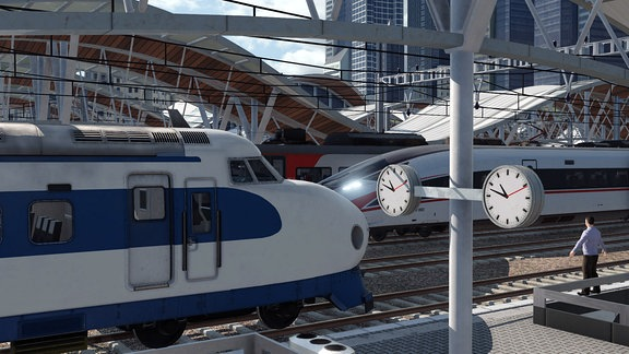 Zwei Züge beim Einfahren oder Parken im Bahnhof. Unten rechts rockt ein NPC die T-Pose.