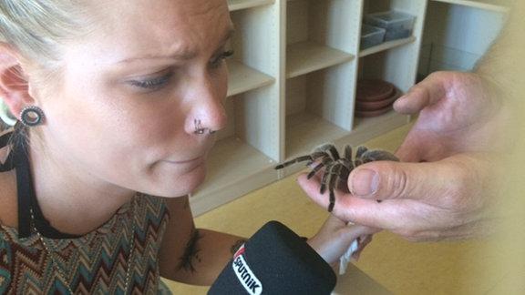 SPUTNIKerin Vanessa schaut verängstigt auf Vogelspinne Berta, die noch auf der Hand eines Helfers sitzt