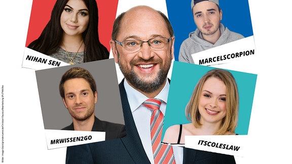 Porträt von Martin Schulz, darum in einer Collage die vier YouTuber: Nihan Sen, Itscolesaw, MrWissen2Go und MarcelSkorpion
