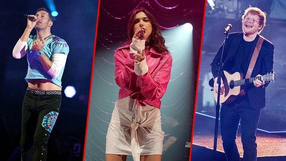 Collage Chris Martin | Dua Lipa | Ed Sheeran