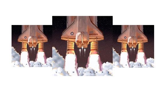 """Madsens aktuelles Album """"Lichtjahre"""", startendes Space Shuttle"""