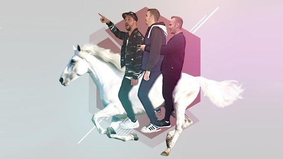 3 Mann auf einem Pferd, DJ Trio