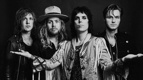 The Struts, Band aus dem englischen Derby, Luke Spiller, Sänger; Adam Slack, Gitarrist; Jed Elliott, Bassist; Gethin Davis, Schlagzeuger