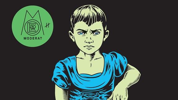 """Cover des Albums """"3"""" der Elektro-Formation """"Moderat"""". Darauf ist ein grimmig schauender Junge im Comicstil zu sehen, der ein blaues Kleid trägt."""