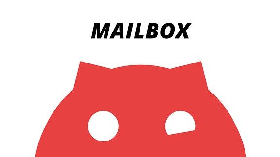 """Ein rotes Sputnikon vor weißem Hintergrund mit der Aufschrift """"Mailbox"""""""