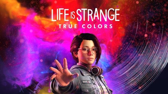 Hauptprotagonistin Alex Chen im Spiel Life is Strange: True Colors vor buntem Hintergrund.