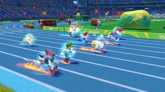 Screenshot: Mario & Sonic bei den Olympischen Spielen Rio 2016.  Sonic beim 100m-Lauf auf einer blauen Tartan-Bahn.