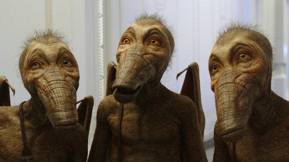 Die drei Doghan Daguis (entenartige Weltallwesen) helfen Laureline bei der Suche nach Valerian.