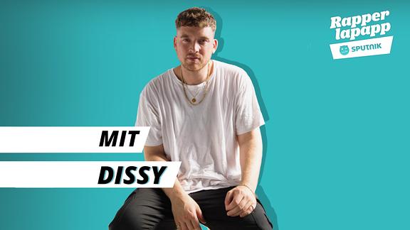 Rapper Dissy mit Rapperlapapp Logo