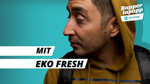 Rapper Eko Fresh mit Rapperlapapp Logo