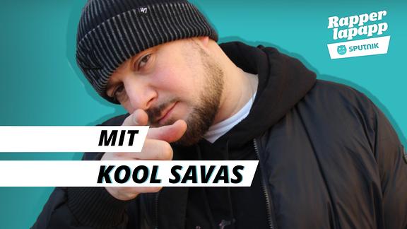 Rapper Kool Savas mit Rapperlapapp Logo