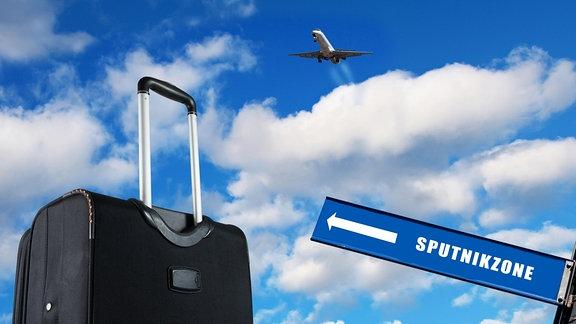 Ein Koffer, ein Flugzeug und ein Wegweiser Richtung SPUTNIKzone