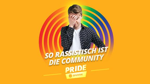 """Pride Host Kai vor orangenem Hintergrund und der Schrift """"so rassistisch ist die Community"""""""