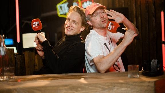 Steffen Israel und Felix Brummer bei der Aufzeichung des Podcasts Radio mit K.